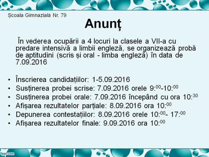Anunt - Proba aptitudini Lb Engleza sept 2016- cl 7